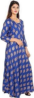 Home Shop Gfit Women's Cotton Silk Golden Print One Piece Midi Dress Kurti (Royal Blue, XX-Large)