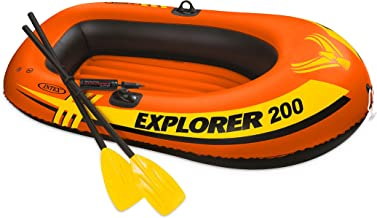 Intex unisex Explorer 200, 2-Person Inflatable Boat Set with French Oars, Orange, 73