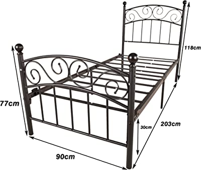 JURMERRY Lit en métal 90 x 200 cm noir sur cadre en acier avec sommier à lattes et tête de lit design pour adolescent