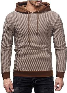 EnergyMen Pure Hood Plaid Kangaroo Pocket Pullover Outwear Sweatshirts