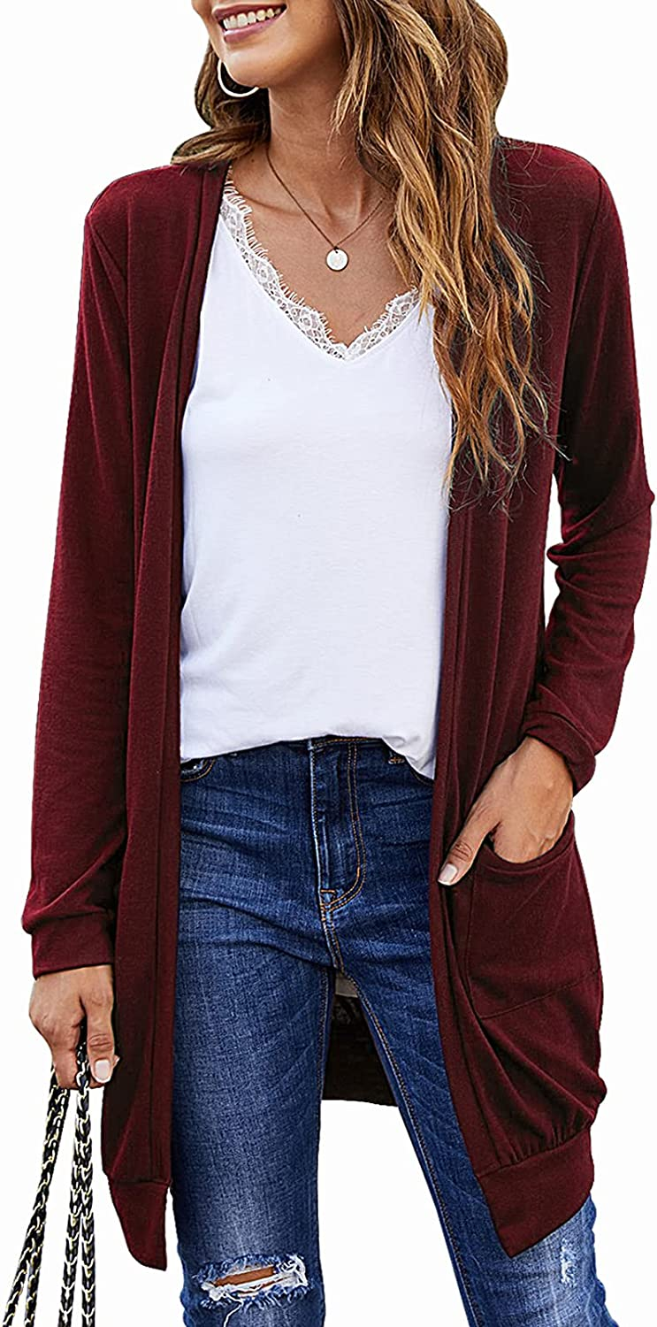 SimpleFun Womens Basic Long Sleeve Lightweight Open Front Knit Long Cardigans Sweaters with Pockets