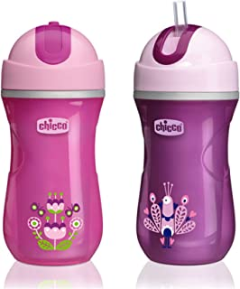 Chicco Insulated Flip-Top Straw Sippy Cup 9oz 12m+ (2pk) - Pink/Purple