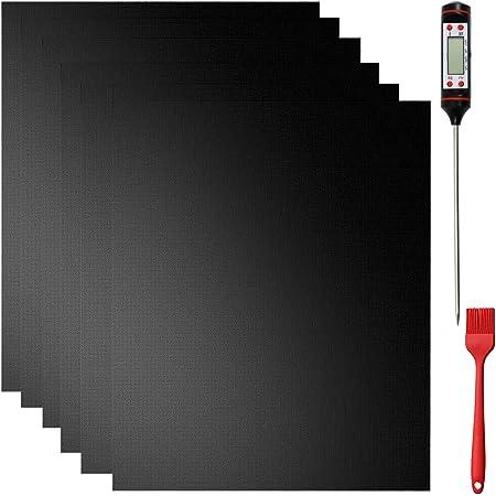 Nifogo Tapis de Cuisson Barbecue 50 x 40 cm avec Thermomètre de Cuisson, Set de 6 Tapis Réutilisable BBQ Grill Mat Antiadhésif pour Les Barbecue à gaz, Charbon (6PCS)
