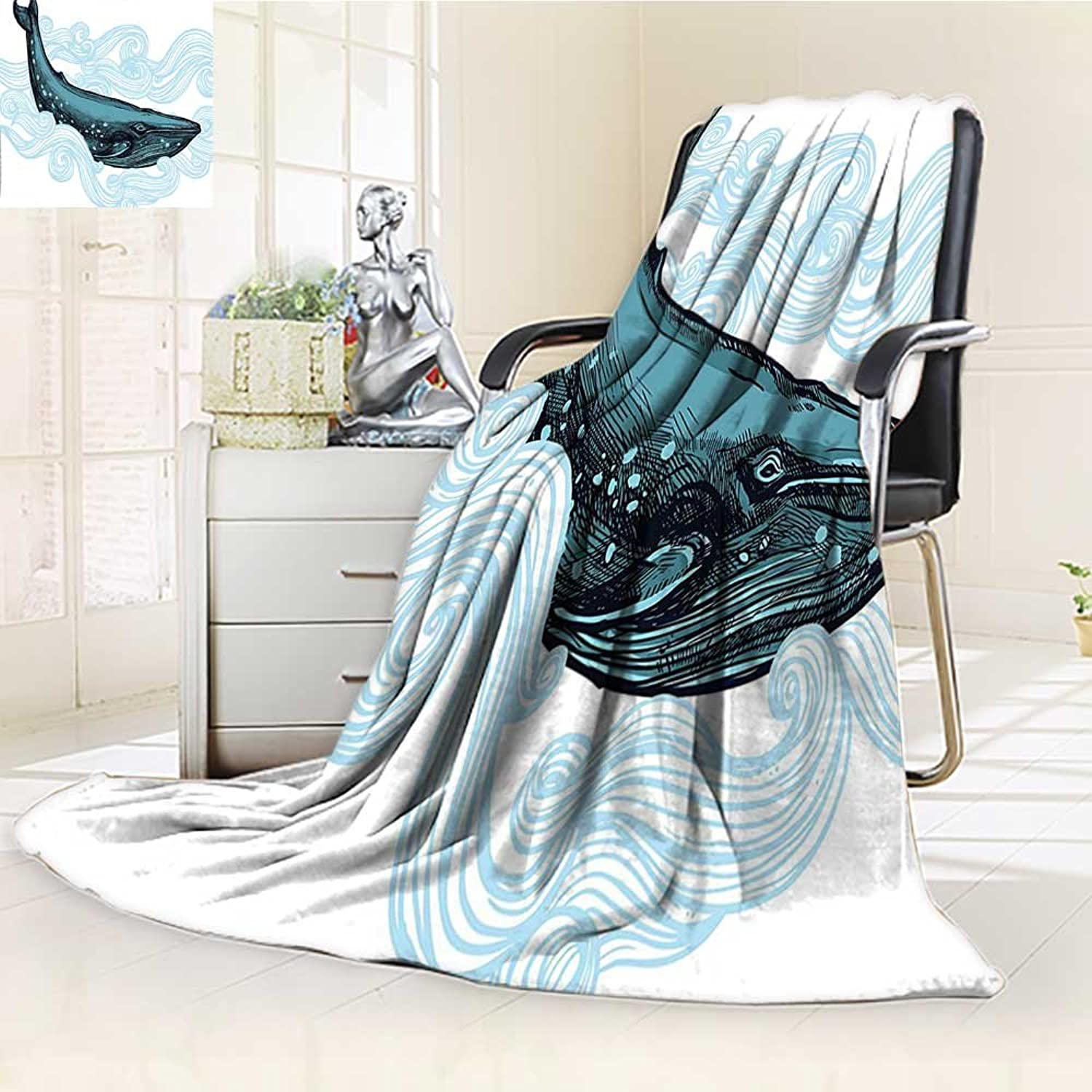 YOYIHOME Digital Printing Duplex Printed Blanket Whale Big Happy Whale with Ornamental Striped Waves with Motto Artwork White Dark bluee and bluee Summer Quilt Comforter  W47 x H59