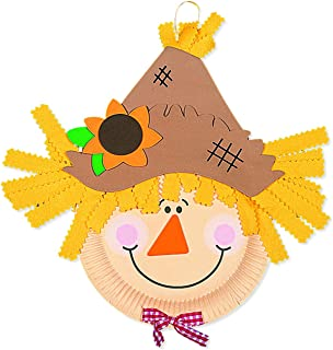 Paper Plate Scarecrow Craft Kit (Makes 12) Crafts for Kids & Novelty Crafts, Fall & Thanksgiving Activities