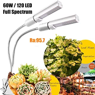 UV Grow Light for Indoor Plants by GOZYE丨Simulated Sunlight 60W 120 LED Growing Lamp丨Day Light Lamp with Full Spectrum for Seedling Vegetable and Flower