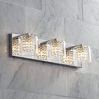 """Coco Modern Wall Light Chrome Hardwired 20 1/2"""" Wide 3-Light Fixture Clear Glass Crystal Accents for Bathroom Vanity Mirror - Possini Euro Design"""