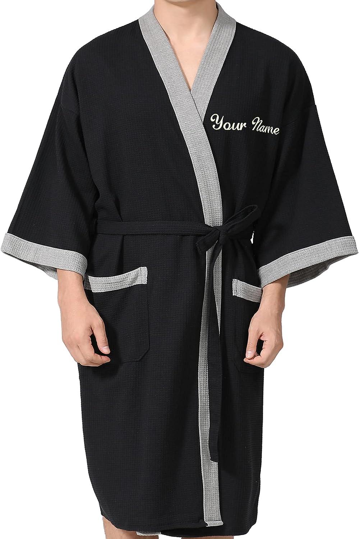 Personalized Robes for Men with Name,Custom men Kimono Robes,100% Luxury Cotton Embroidered Monogrammed Bathrobe for men