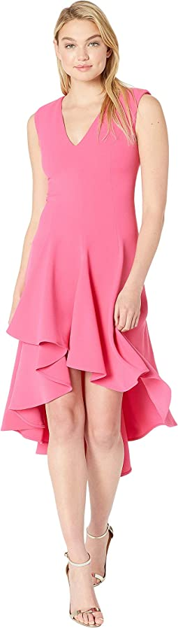 Sleeveless V-Neck Flowy High-Low Crepe Dress