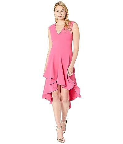 Halston Heritage Sleeveless V-Neck Flowy High-Low Crepe Dress (Azalea 2) Women