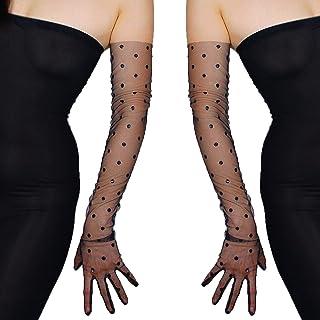 iiniim 1 Pair Womens Sheer Mesh Full Finger Evening Gloves Opera Length Glove Mittens