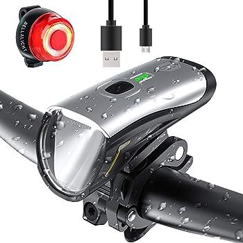 Fahrradlicht Wasserdicht Und Staubdicht Vorne R/ücklicht Set,usb Wiederaufladbare Nebelscheinwerfern Automatischem Alarm Fahrradbeleuchtung,f/ünf Codetabellenmodi Sport Led Batterie Fahrradbeleuchtung