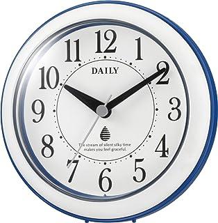 リズム(RHYTHM) 壁掛け時計 バスクロック 防滴・防塵型 青/白 φ118×48mm 4KG711DN04