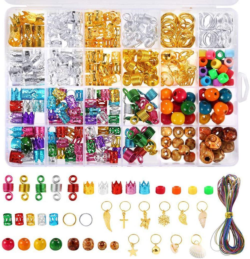 FunPa 5 ☆ popular Hair Jewelry Rings Set Cuffs DIY Beads Dreadlocks New Free Shipping Dec