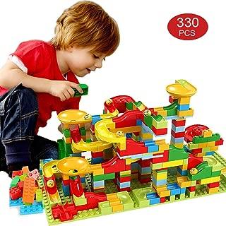 Ibamgo Marble Run Building Blocks Construction Toys Set ,330PCS Educational Marble Maze Race Tracks Toy for Kids