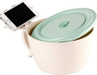 Shopwithgreen Microwave Noodle Bowls With Lid - 40 OZ Large Wheat Straw Soup Mug with Phone Holder - Microwave & Dishwasher Safe, Leak Proof, for soup, noodle, ramen