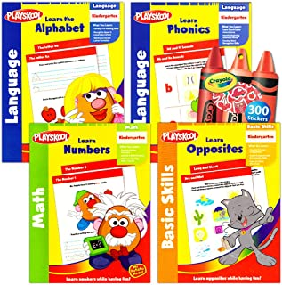 Playskool Kindergarten Workbooks Set -- 4 Learning Workbooks for Kindergarteners and Reward Stickers (Reading, Math, ABC W...