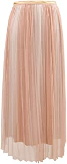 Ladies Metallic Lurex Pleated Midi Skirt with Tulle