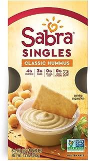 Sabra Singles, Classic Hummus, Plant-Based, Vegan, Gluten-Free, 2oz Cups, 6ct