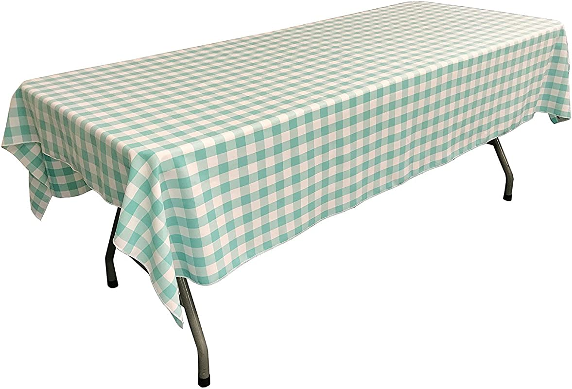 Lovemyfabric Gingham Checkered 100 Polyester Restaurant Style For Picnic Party Dinner Country Style Evants Tablecloth Overlay 58 X102 Aqua Mint