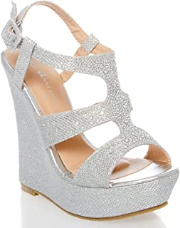 Womens 40-KENDRA1 Open Toe High Heel Wedge Platform Sandal Shoes