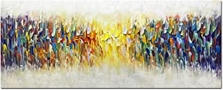Amei Art Paintings,24x60Inch 3D Hand-Painted Abstract Colorful Melody Unframed Oil Painting on Canvas Simple Modern Home Decor Wall Art Contemporary Artwork Texture Palette Knife Paintings Large Size