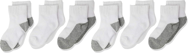 Jefferies Socks baby-boys Seamless Half Cushion Quarter Multi Pack Socks 6 Pair Pack