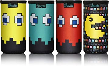 Beautyflier 12oz Slim Can Neoprene Bottle Insulator Sleeve Collapsible Drink Slim Can Cover for 12 Ounce Energy Drink Beverage Beer Can (PACMAN Pattern (4pcs))