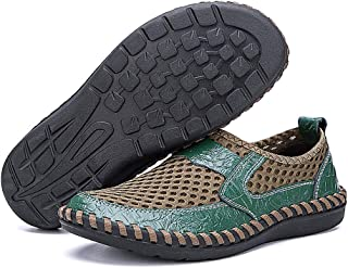 NLEN&BENNA Men's Summer Breathable Mesh Shoes Casual Walking Shoes Men Flat Slip On Lightweight Leather Driving Loafers Handmade Shoes