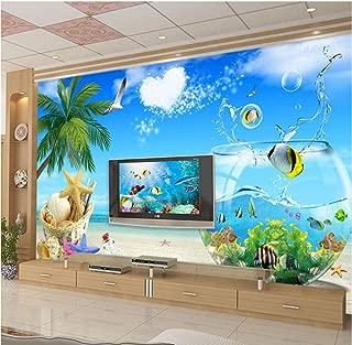 Pintura de pared personalizada grande de alta calidad 3D Creative Fish Tank Sea View Art Wallpaper para paredes de dormitorio Sala de estar TV Fondo-360 * 280cm