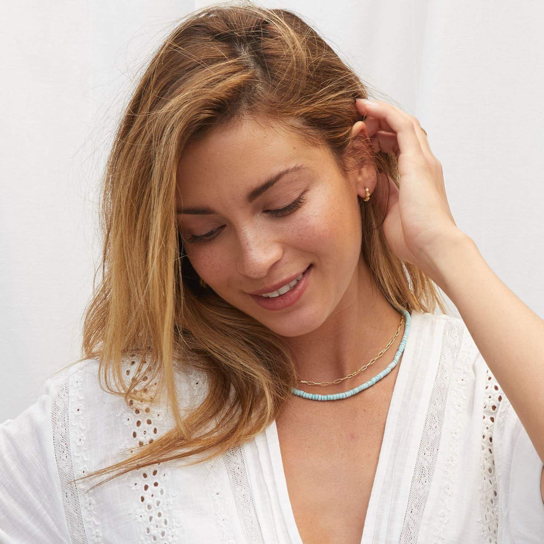 gorjana Womens Beaded Parker Gemstone Necklace 18k Gold Plated