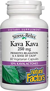 Stress-Relax Kava Kava 250 mg by Natural Factors, Promotes Relaxation and a Sense of Calm, Vegan and Non-GMO, 60 Vegetaria...