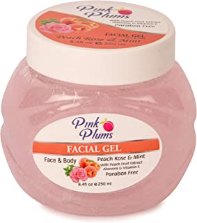 PINK PLUMS Glowing Peach Rose & Mint Facial Gel with Vitamin-E, 250 ml