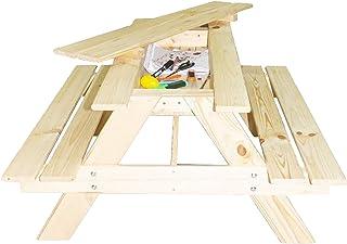 Mesa de picnic con compartimento secreto para 4 niños – Mesa de jardín color natural – Asiento exterior 90 cm