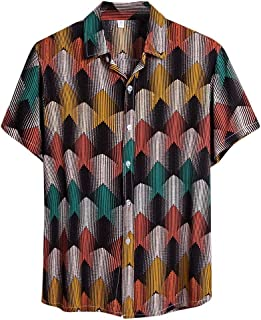 Men Short Sleeve Shirt Tops, Male Ethnic Printed Fashion Button T-shirt Blouse Pullover Top