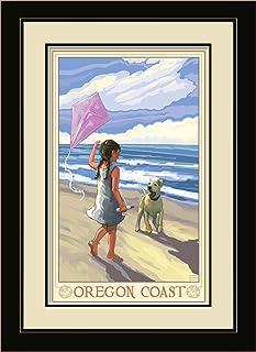 "Northwest Art Mall JK-3769 FGDM GDB Oregon Coast Girl Dog Beach Framed Wall Art by Artist Joanne Kollman, 16 x 22"""