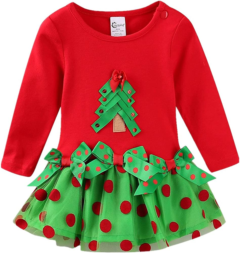 LittleSpring Max 54% OFF Baby Toddler Girl Christmas Dress Bowknot Manufacturer regenerated product Tutu with