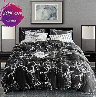 karever Black Marble Duvet Cover Set Twin Kids Cotton Bedding White Texture Pattern Printed on Black Comforter Cover Sets for Boys Girls