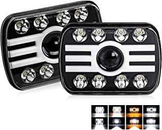 7x6 led headlights 2 Color Angle Eyes 3500K/6000K 5x7 Square headlamp with Sealed Beam Hi/Lo Beam for YJ XJ H6054 H5054 H6...