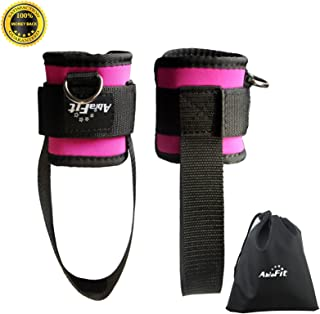 AbraFit Ankle Straps - for Cable Machines, Ab, Leg & Glute Exercises, Improved Wider and Longer, Durable &Lightweight, Fre...