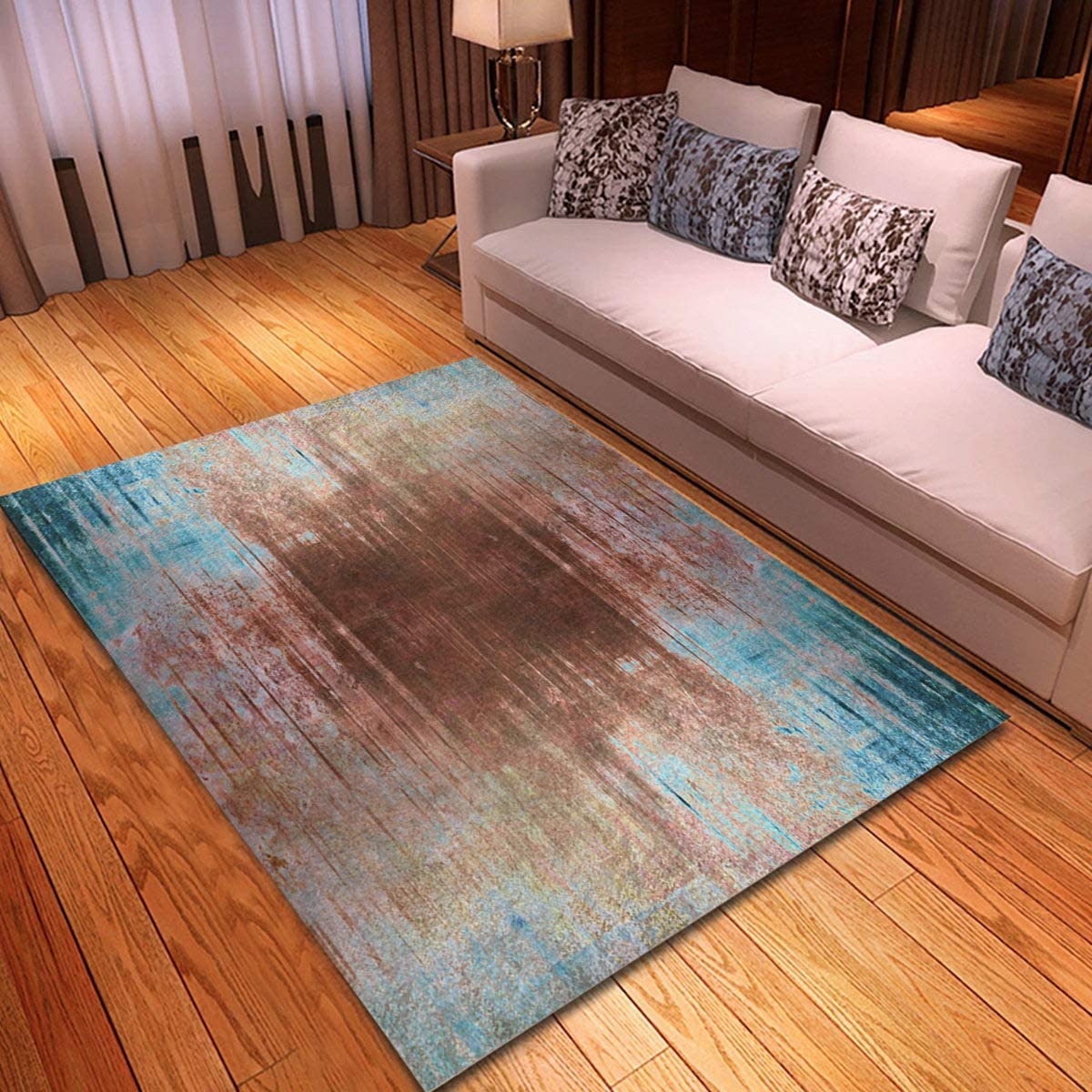 rouihot Non-Slip Excellence Area Rug 4'x Patter Abstract Brown Price reduction Turquoise 6'