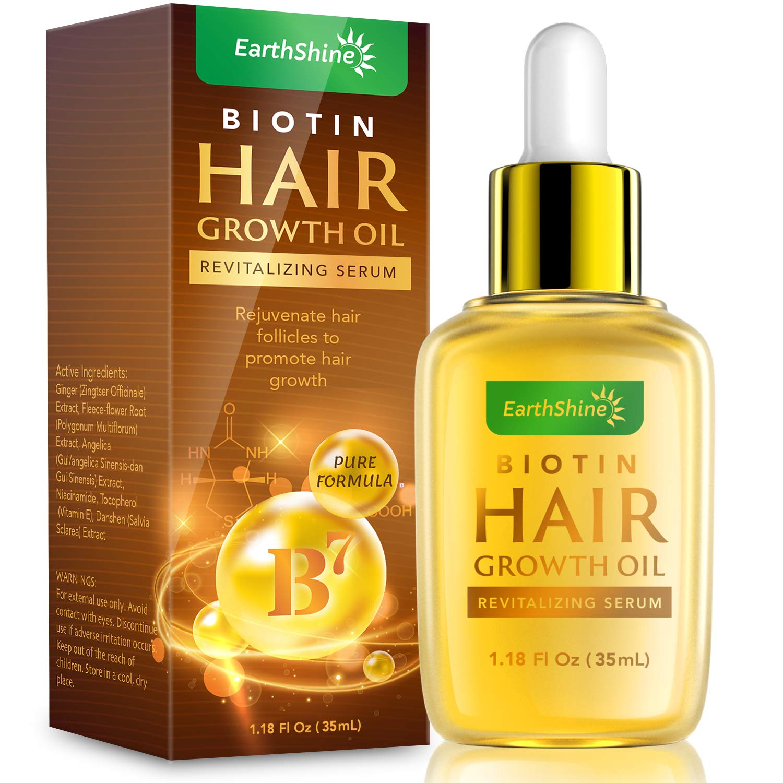 Hair Growth Serum - Biotin Hair Regrowth Oil Prevent Hair Loss and Natural Serum for Thicker, Stronger, Longer Hair Men and Women 1.18 Oz (35 mL)
