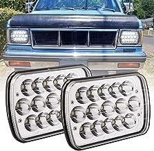 BICYACO 5x7 / 6x7 inch Rectangular LED Headlights for Jeep Wrangler YJ Cherokee XJ Toyota Pickup Trucks 4X4 Offroad Headlamp Replacement H6054 H5054 H6054LL 6054 6052 6053-Chrome