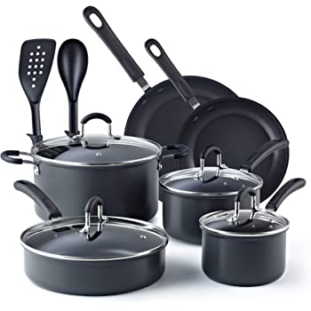Cook N Home, Black 12-Piece Nonstick Hard Anodized Cookware Set