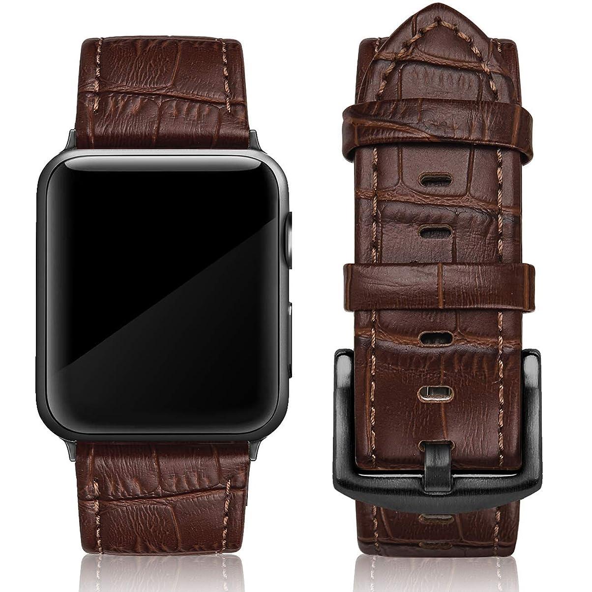 独裁者無数のアジテーションSWEESレザーバンド対応Apple Watch 42mm 44mm、本革ストラップクラシックリストバンド対応iWatch Apple Watchシリーズ5、シリーズ4、シリーズ3、シリーズ2、シリーズ1、スポーツ&エディションメンズ、リチーブラック