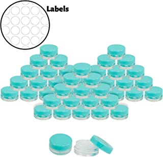 Houseables 3 Gram Jar, 3 ML Jar, 50 pcs, BPA Free, Cosmetic Sample Empty Container, Blue, Plastic, Round Pot Blue Screw Cap Lid, Small Tiny 3g Bottle, for Make Up, Eye Shadow, Nails, Powder, Jewelry
