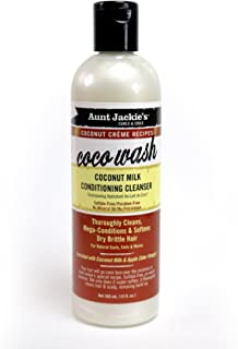 Aunt Jackie's  Coconut Crème Recipes Coco Wash, Coconut Milk Conditioning Cleanser, Replenishes Moisture to Dry Hair, 12 Ounce Bottle