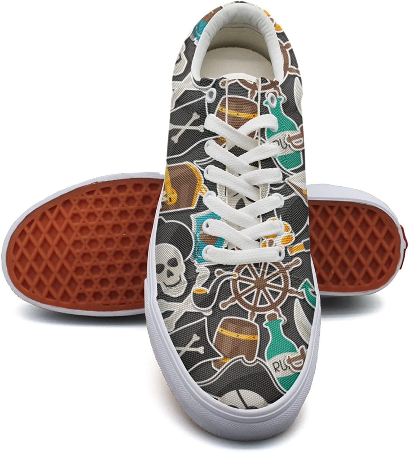 Feenfling Pirate Theme Skull Anchor Womens Navy Canvas Tennis shoes Low Top Lightweight Basketball shoes for Women's