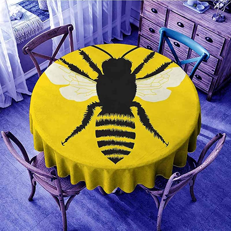 ScottDecor Queen Bee Dinning Tabletop Decoration Silhouette Of Honeybee With Stripped Design And Detailed Wings Abstract Waterproof Round Tablecloth Black Yellow White Diameter 54