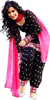 NAKARANI Women's Black Cotton Patiala Salwar Suit